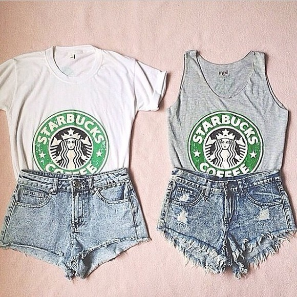 shorts high waisted short shirt white tank top, t-shirt, starbucks