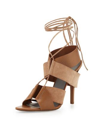 Alexander Wang Malgosia Leather & Suede Sandal, Truffle  - Neiman Marcus