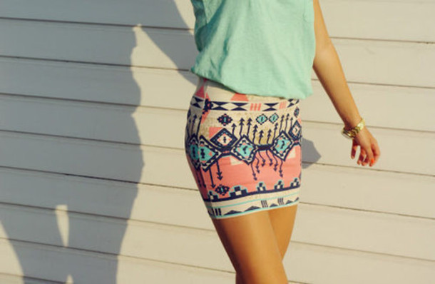 skirt aztec blouse tribal pattern colorful tight aztec mini skirt pink skirt aztec tribal pattern clothes tribal skirt beautiful tribal pattern tribal print skirt pencil summer outfits pattern pink blue cute atzec print nude shirt