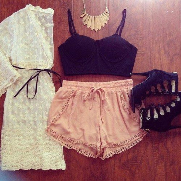 top necklace shorts heels