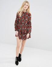 dress,keyhole dress,bell sleeves,print,floral dress