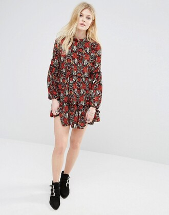 dress keyhole dress bell sleeves print floral dress