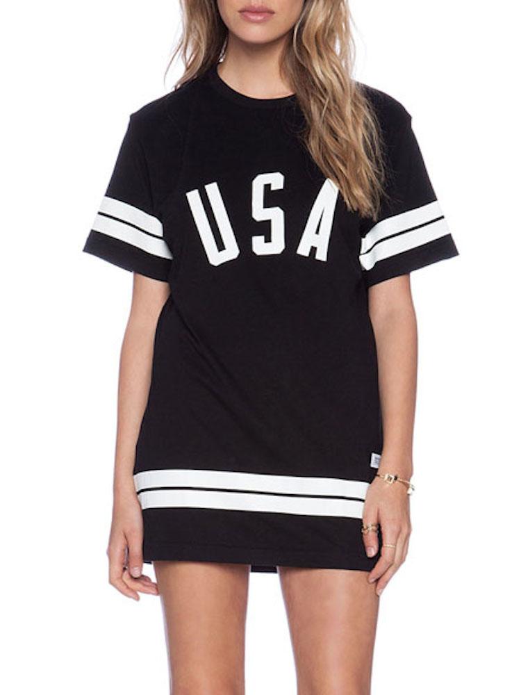 Black usa printed baggy t shirt for T shirt printing usa