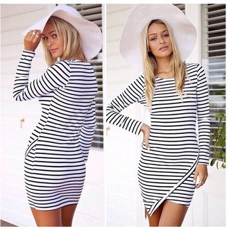 dress striped long sleeve women dress stripes striped dress long sleeves long sleeve dress women girly girl striped long sleeve dress hat white black summer summer outfits summer dress summer party best outfit bodycon bodycon dress slim dress