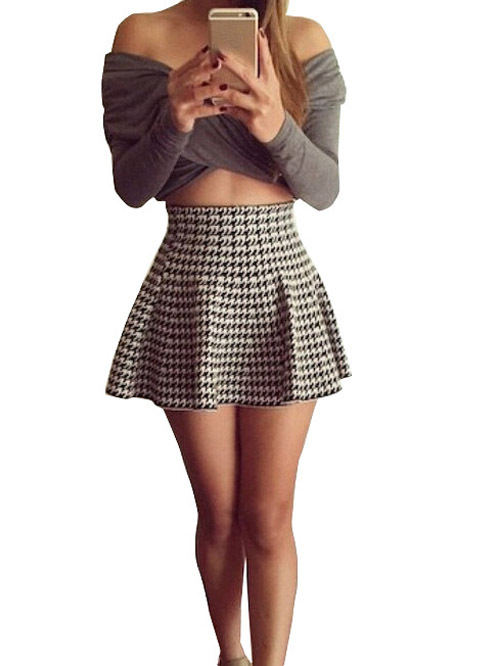 Nextshe fashion two piece women set plaid mini skirt with off shoulder long sleeve grey crop top s m l on aliexpress.com