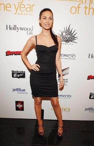 dress megan fox black dress leopard heels