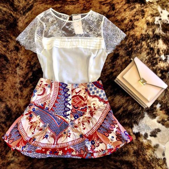 ethnic mini skirt skirt ethnic pattern white