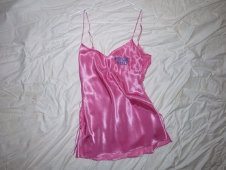 pajamas pink necklege negligé rose pastel pale underwear silk hot pink lingerie dress