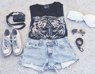 shirt black white tiger tiger tee