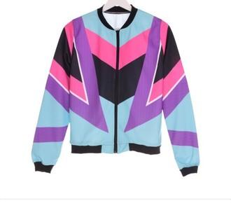 coat multicolor 90's style bomber jacket