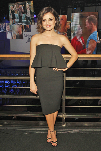 top skirt dress midi skirt lucy hale all black everything sandals