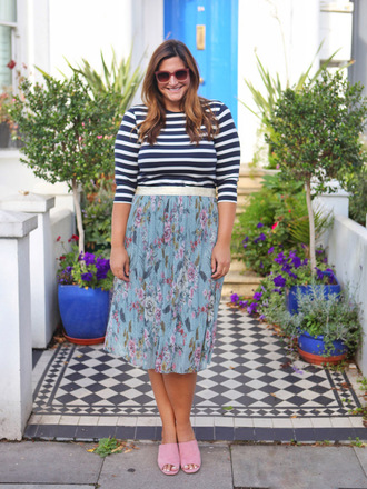 fashion foie gras blogger shirt skirt mules striped top midi skirt summer outfits