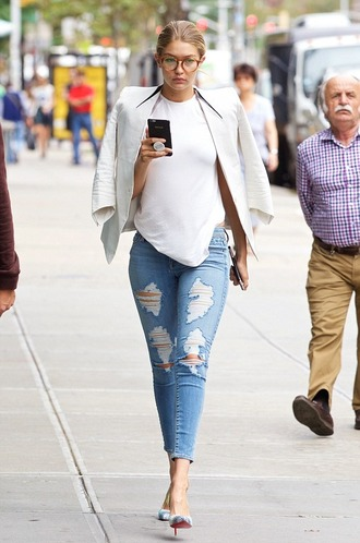 sunglasses glasses nerd glasses gigi hadid new york city white top louboutin ripped jeans skinny jeans denim jacket fashion week tortoise shell model off-duty