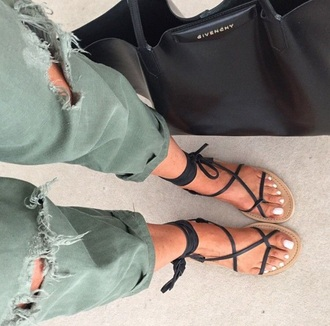 shoes sandals green pants black