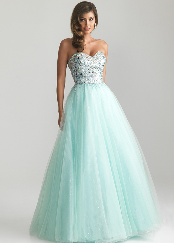 Night moves 6669 blue strapless beaded top ball gown 2014 [night moves 6669]