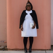 alreadypretty,blogger,jacket,dress,shoes,bag,plus size dress,curvy,plus size,tights,opaque tights,white dress
