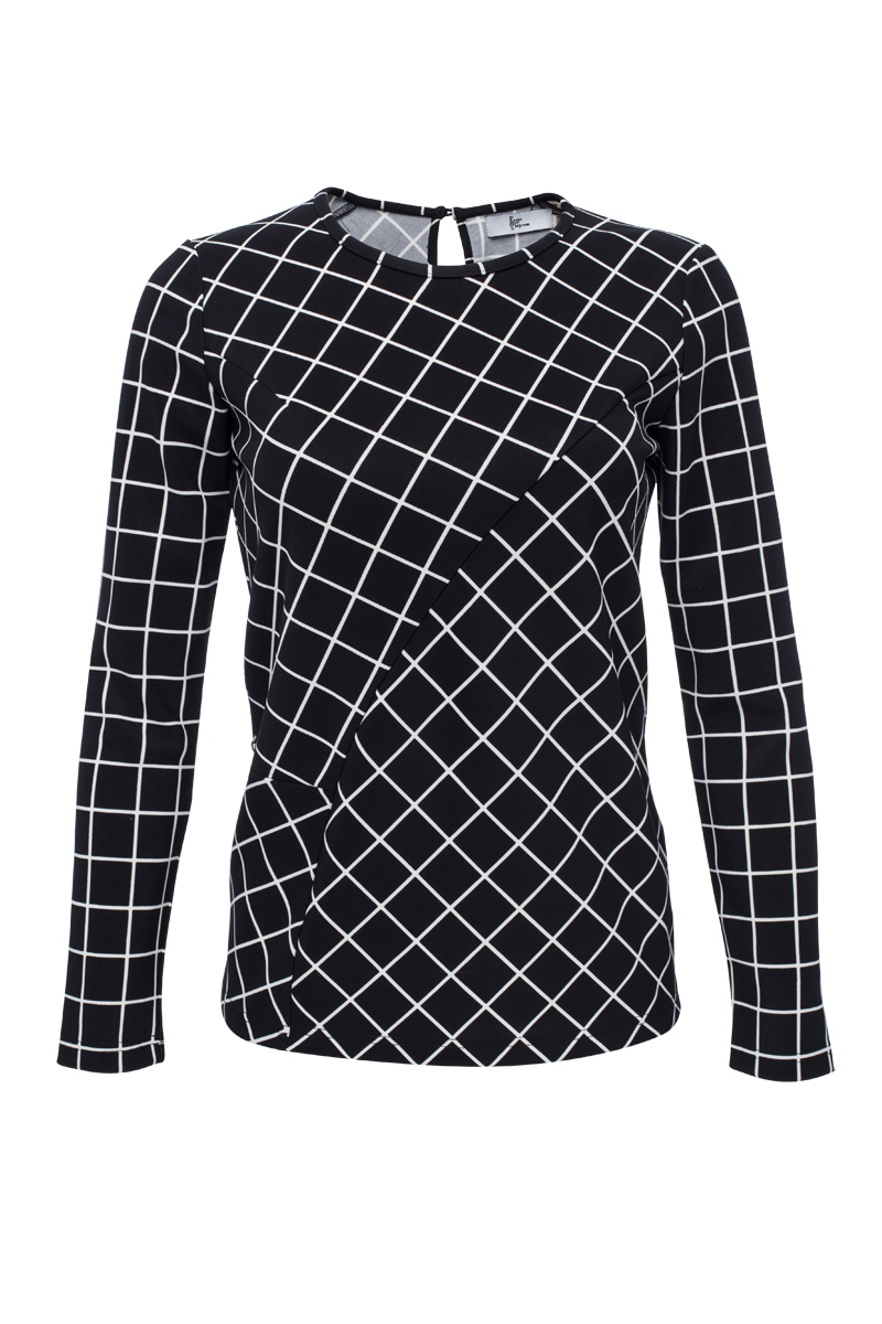 Checked t-shirt with long sleeves