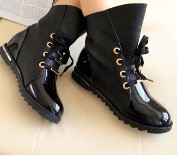 Women's Patent Leather Low Heel Ankle Boots Lace Up Flats ...