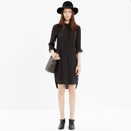 Long-Sleeve Tunic Dress in Dot