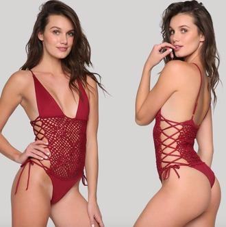 swimwear frankies bikini ishine365 burgundy lilah one piece