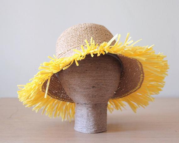 Raffia straw frayed trim sun hat, Women's wide brim floppy hat with fringe, Rollable packable sun hat