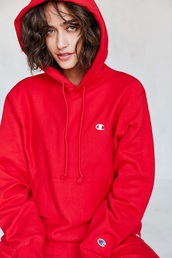 sweater,hoodie,red sweater,red,champion