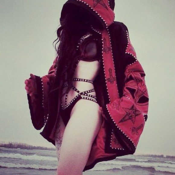 body underwear goth lingerie jacket hood