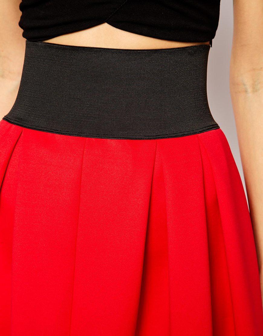 Asos midi skirt in scuba with exposed elastic at asos.com