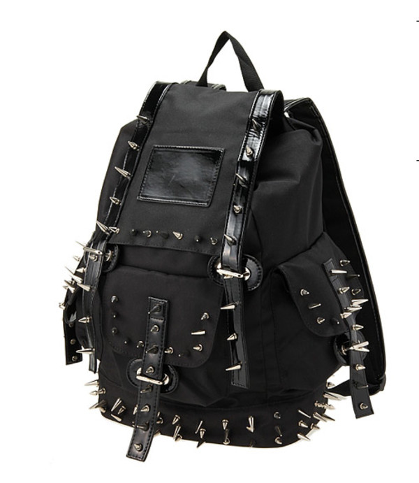 bag backpack spikes black alternative studs leather tumblr harajuku ulzzang kfashion spiked backpack