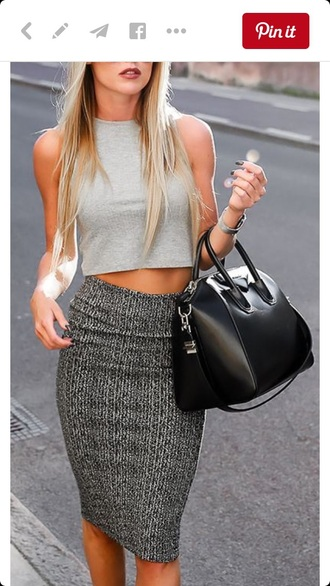 skirt grey midi skirt pencil skirt high waisted skirt bodycon outfit