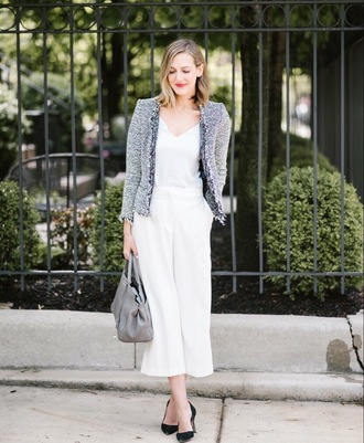 pants tumblr white pants wide-leg pants culottes pumps top camisole jacket grey jacket bag work outfits office outfits