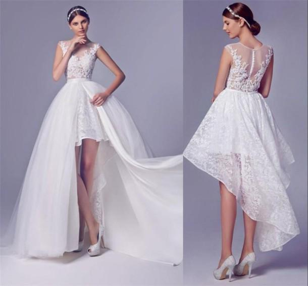Wedding Dresses With Cool Backs: High Low Wedding Dresses With Detachable Skirt Beaded