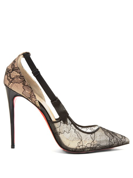 christian louboutin hot pumps lace black shoes