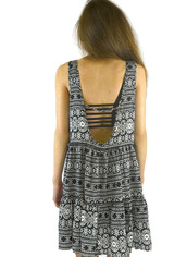 dress,aztec,tribal pattern,black,open back