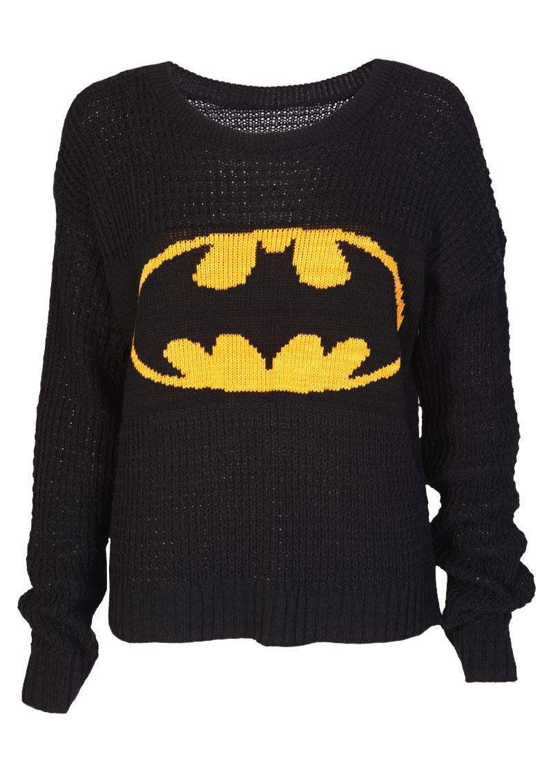 Knitting Pattern Batman Jumper : Batman Knitted Jumper - Womens Clothing Sale, Womens Fashion, Cheap Clothes O...