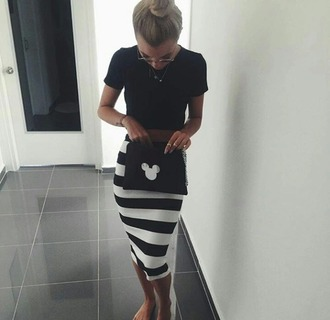 skirt striped skirt black t-shirt spring outfits mickey mouse pouch black pouch pencil skirt