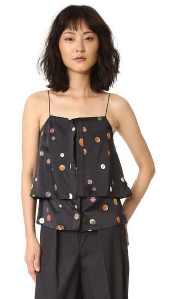 Edun Button Silk Layer Camisole - Black Multi