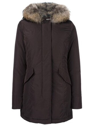 coat parka women brown