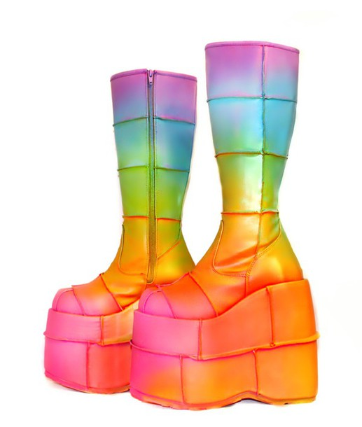 shoes boots rainbow platform shoes rave rave wear platform boots  holographic shoes holographic holographic boots
