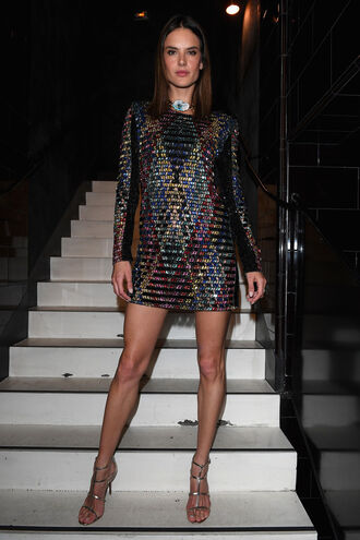 dress mini dress balmain sandals alessandra ambrosio model shoes silver sandals prom shoes sequin dress