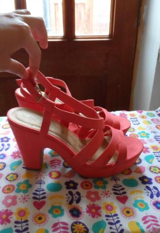 shoes peach wedges high heels