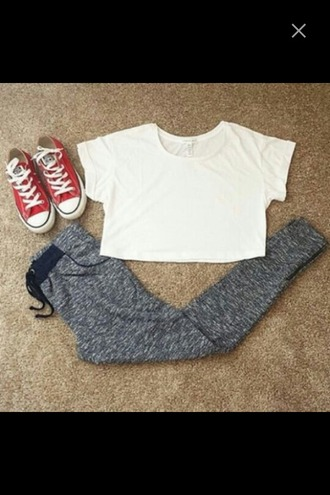 pants outfit converse crop tops top white white t-shirt sweatpants high waisted pants cozy pant red lime sunday
