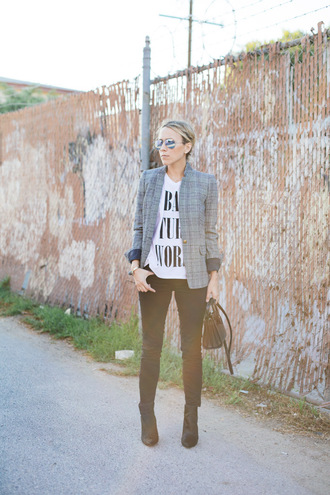 damsel in dior blogger jacket jeans t-shirt blazer white t-shirt bag aviator sunglasses