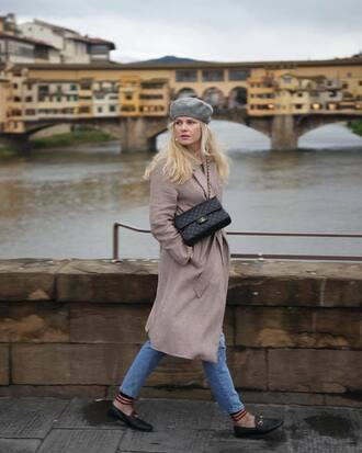 coat tumblr nude coat beret hat bag black bag denim jeans blue jeans loafers socks