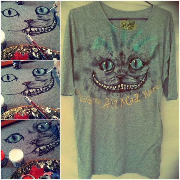 alice in wonderland t-shirt cool cats cheshire cat mad
