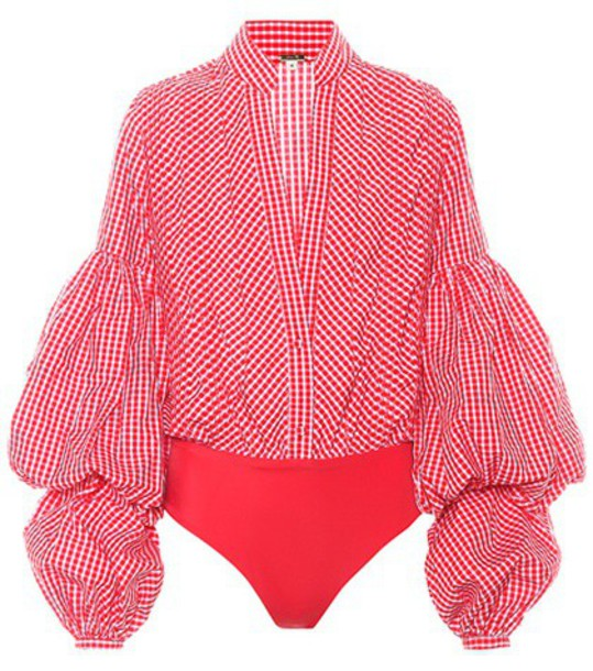 Johanna Ortiz bodysuit gingham red underwear