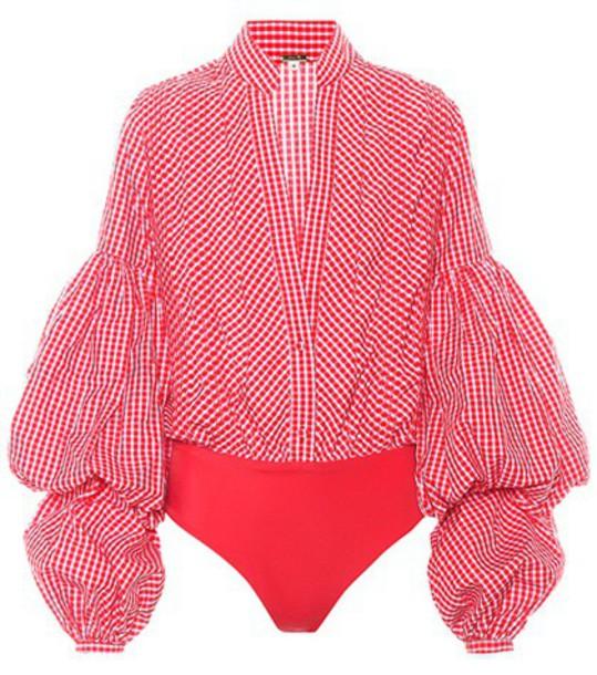 Johanna Ortiz Jicarilla gingham poplin bodysuit in red