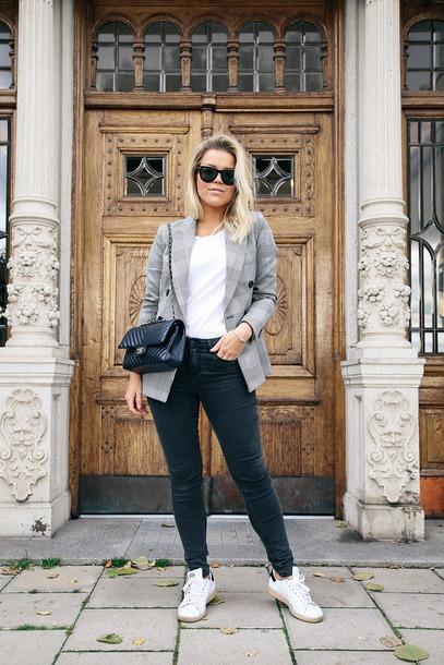 jacket tumblr blazer grey blazer plaid blazer denim jeans black jeans sneakers white sneakers sunglasses bag