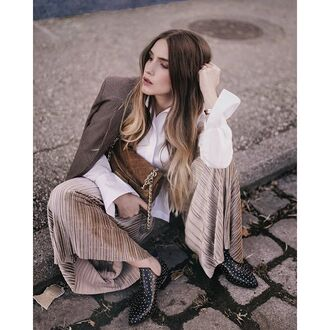 pants tumblr wide-leg pants nude pants shirt white shirt blazer bag brown bag boots ankle boots flat boots fall outfits classy streetstyle