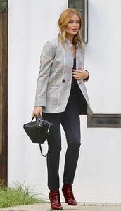 jacket,pants,rosie huntington-whiteley,model off-duty,plaid